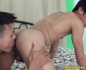 Skinny asian twinks rimming and