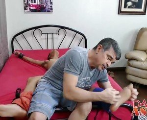 Mature gay perv spreads his asshole