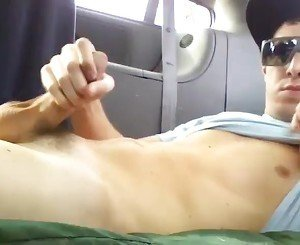 Horny Boy Wank Back of Car