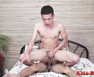 Asian twink bareback fucking after