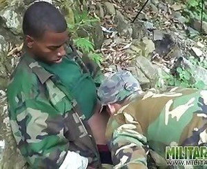 Gay soldiers take turns at outdoor